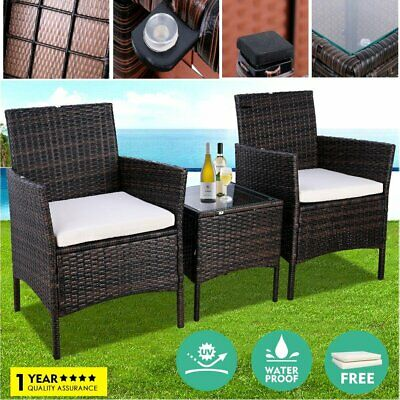 3PC Rattan Wicker Bistro Sofa Set Coffee Table and Chair Outdoor Patio Furniture
