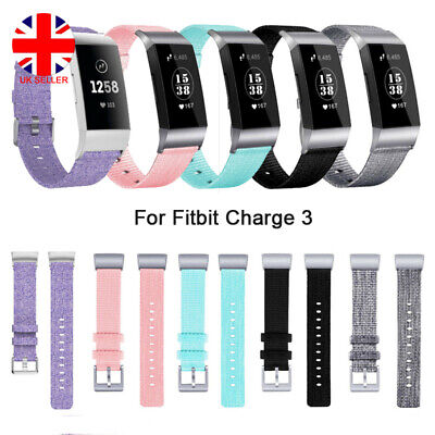 For Fitbit Charge 3 Strap Woven Canvas Fabric Watch Band Replacement Wristband