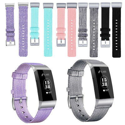 For Fitbit Charge 3 Woven Canvas Fabric Watch Band Replacement Wristband Strap