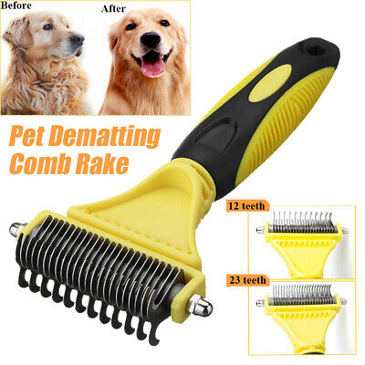 Pet Stainless Steel Fur Brush Dog Cat Hair Shedding Flea Trimmer Grooming Comb