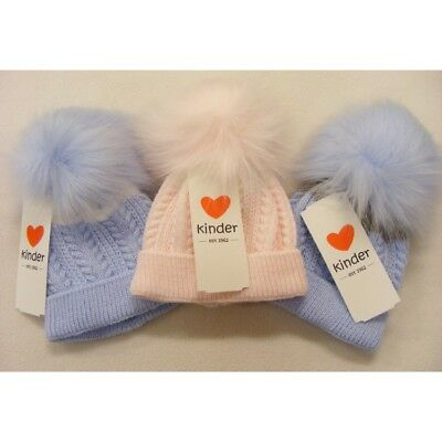 Kinder Baby & Boys Girls Spanish Style Romany Chevron Knitted Fur Pom Pom Hat