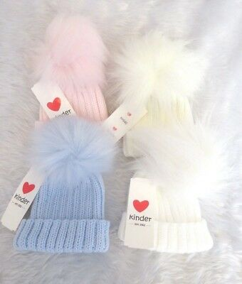 Kinder Baby & Girls Boys Spanish Style Romany Faux Fur Pom Pom Knitted Hat AW19
