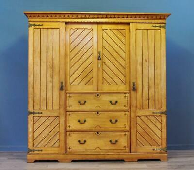 Large Antique Victorian Carved Ash Arts & Crafts Compactum Triple Wardrobe