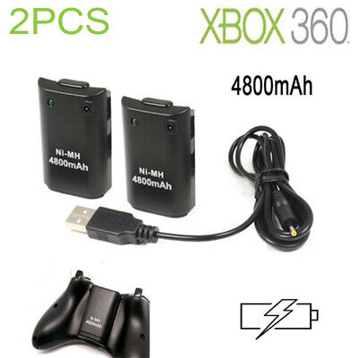 2PCS 4800mAh Rechargeable Battery Pack+ USB Charge Cable for Xbox 360 Controller