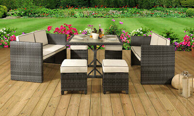 7PC Rattan Garden Patio Furniture Outdoor Set - 2 Sofas, 4 Stools & Dining Table