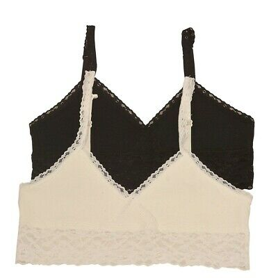 Big Girls Ivory Black Lace Trim Adjustable Strap 2 Pc Cami Bralette Set 8-16