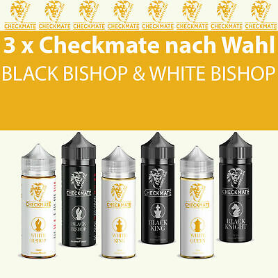 3 x Checkmate White King White Bishop Black Bishop Aroma 10ml Liquid nach Wahl
