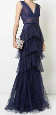 995 New Marchesa Notte Tiered Chantilly Lace Gown Royal