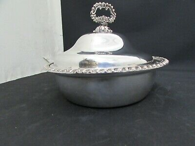 Antique 19th Century Silver Plate On Copper Entree Small Circular Serving Dish
