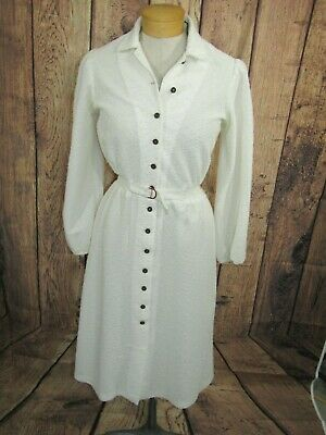 Vtg 70s Cream Knit Dress Button Front Long Sleeve Womens Sz M