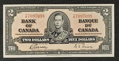 Canada 1937 Gordon Towers BC-22b $2.00 Banknote TB 7097098 Uncirculated