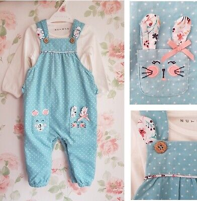 New Baby Ex store Girls Cute Bear Bunny Floral Spotty Jumpsuit Dungarees Set