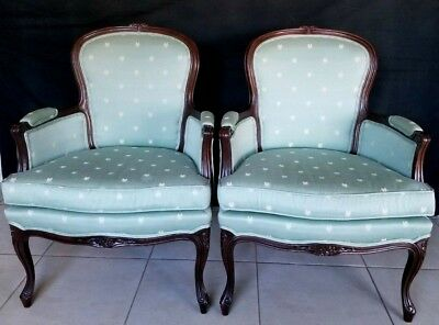Pair French Arm Chairs Sherrill Sea foam Green Bee Fabric Louis XV Style Bergere
