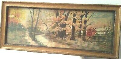 Vintage 1920's Watercolor Painting Tree Stream Virginia Scene Signed
