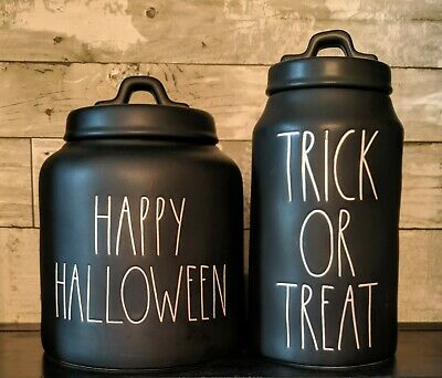 Rae Dunn Matte Black Happy Halloween and Trick or Treat Canisters 2018