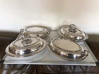 LOVELY LOT OF SILVER PLATED HANDLED AND LIDDED ENTREE DISH  ( SPED 70j)