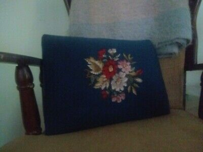 Vintage SEAT CUSHION Bench Needlepoint Tapestry Embroidery Floral - stuffed