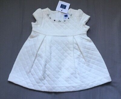 Baby Girl 0-3 Month Janie & Jack Off White Quilted Floral Embroidered Dress