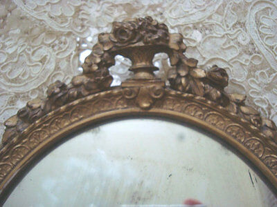 Exquisite SHABBY Antique French Hand MIRROR Carved ROSES CHIC ****BIG SALE****