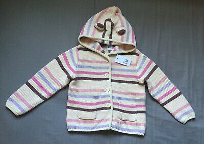 NEW Gap Baby Girl Garter Bear Hoodie Cardigan Knit Jacket Pink 3-6 M 0-3 M