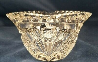 Antique ABP Signed Libbey Star & Feather Cut Crystal In Mayo Candy Dish