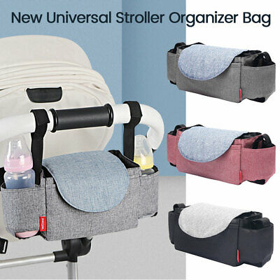 Baby Stroller Pram Pushchair Organizer Mummy Bag Storage Buggy Bottle Holder OZ
