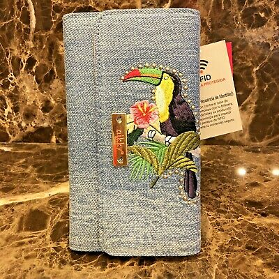 NWT~NICOLE LEE~NIKKY~Denim Embroided PARROT~CALIXTA WALLET WITH RFID BLOCKING