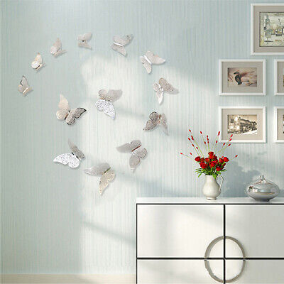 12PCS 3D Hollow Metal Texture Butterfly Bedroom Wall TV Wall Stickers