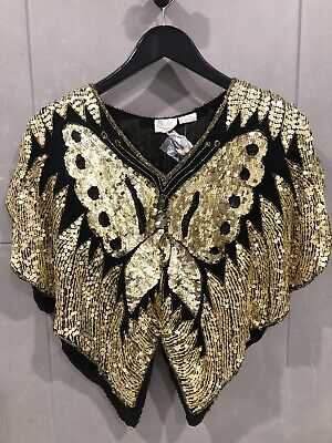 Vintage Valachi Creations Sequin Butterfly Silk Top