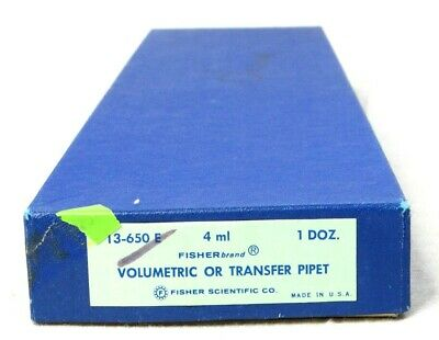 QTY 12 Fisher Volumetric or Transfer Pipet 4ml 13-650 E New Old Stock NOS