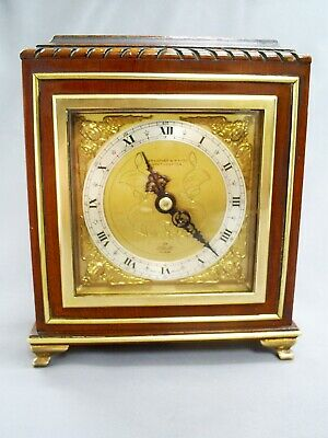 "Superb Vintage Elliott Mahogany/Ornate Brass Cherub Spandrel 6.75"" Mantle Clock"