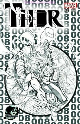 Thor #8 Sketch Variant Cover Homage Amazing Spider-Man #300 Lady Thor Revealed 1