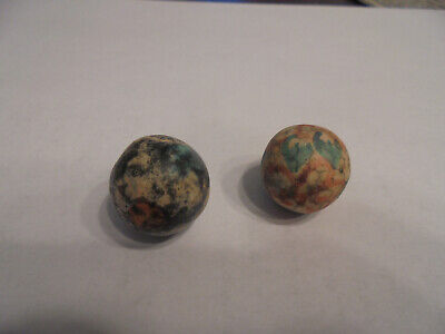 2 Rare Antique Hand Made Painted Design Clay Marble 1 Of Kind