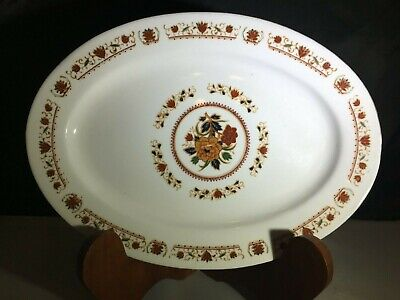 """Red Floral Cathay China 12-1/2"""" Oval Serving Platter  - Gold Plated Edge"""