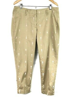 LANDS'END- Size 14P- Petites Fit 2 Taupe Cotton Stretch Embroidered Tennis Pants