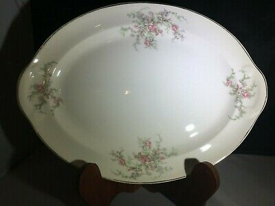 Taylor Smith Taylor USA Platter - Pink Moss Rose Gold Handle Oval China