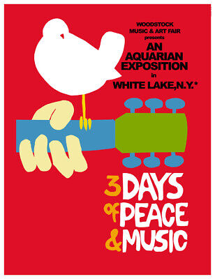 WOODSTOCK CONCERT MUSIC FESTIVAL RED POSTER Art Fabric HD PRINT Wall Decor