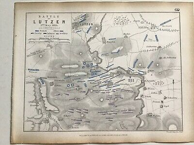 1813 Battle Of LUTZEN, Original 1850 Antique Campaign War Map, W & AK Johnston