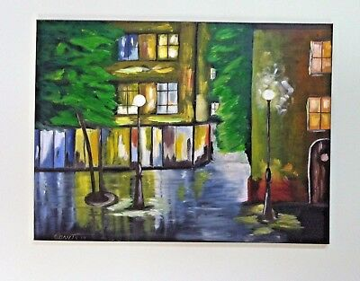 Original oil painting on canvas cityscape abstract unframed signed 24 x 18 nice