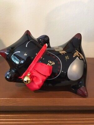 Adorable Ceramic Japanese Black Cat Bank w/Gold Accents High Gloss Mint