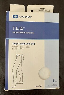 T.E.D. Anti Embolism Stockings Thigh Length White  With Belt Large Reg O/T TED