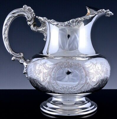GORGEOUS c1940 FLOWER HANDLE ETCHED SILVER PLATE ICE LIP WATER WINE PITCHER JUG