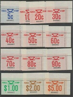 Railway parcel stamps Victoria 1981 set of 13 matching number 5 serial, MUH