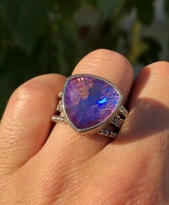 Vintage Sajen Sterling Silver Mystic Topaz Quartz Adjustable Statement Ring