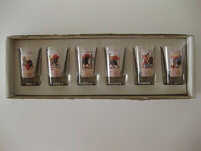 Bull Fighting Posters Shot Glass Set ( Lot of 6 ) With Original Box