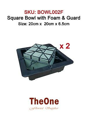 2 x Square Flower Bowl with Oasis Foam and Guard