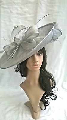 Silver grey metallic Sinamay Hatinator.hat.Large saucer disc Wedding.races.