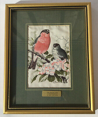 Cash's Collector Range Bullfinch Woven Picture Birds Gold Frame