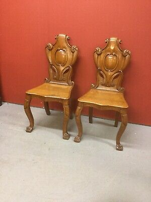 Antique Pair Of 19th C Oak Hall Chairs Sn-810a