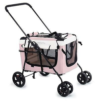 Pink Pet Travel Stroller Dog Cat Pushchair Pram Jogger Buggy Zippers  Pillow